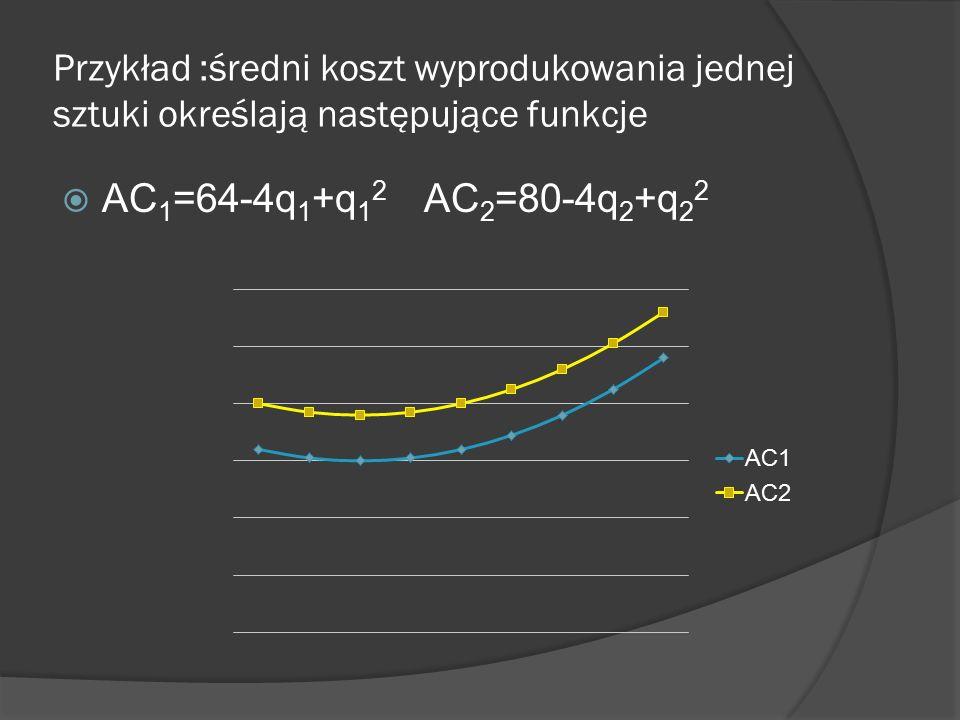 Przykład :średni koszt wyprodukowania jednej sztuki określają następujące funkcje  AC 1 =64-4q 1 +q 1 2 AC 2 =80-4q 2 +q 2 2