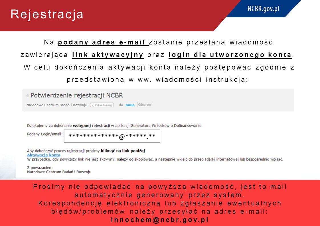 Rejestracja Na podany adres e-mail zostanie przesłana wiadomość zawierająca link aktywacyjny oraz login dla utworzonego konta. W celu dokończenia akty