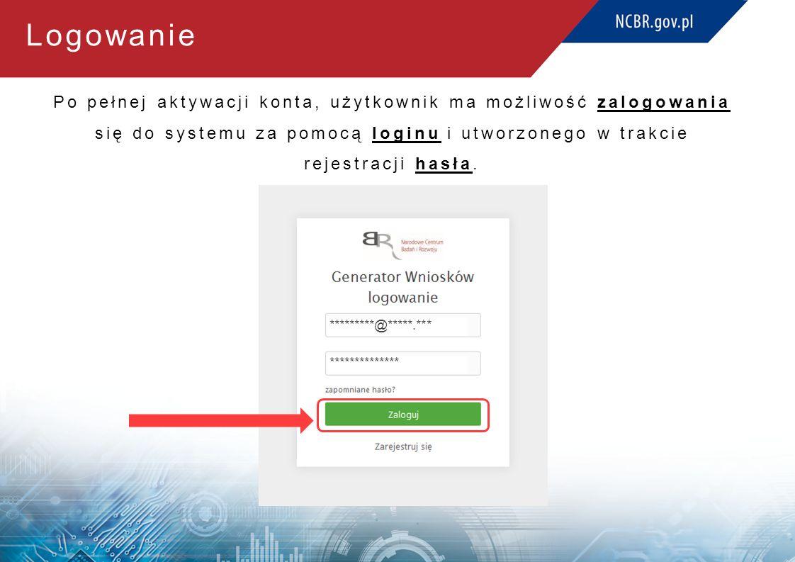 Logowanie Po pełnej aktywacji konta, użytkownik ma możliwość zalogowania się do systemu za pomocą loginu i utworzonego w trakcie rejestracji hasła.