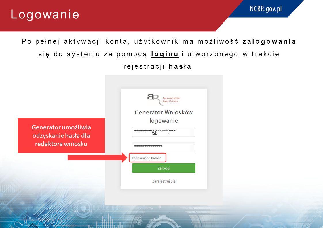Logowanie Po pełnej aktywacji konta, użytkownik ma możliwość zalogowania się do systemu za pomocą loginu i utworzonego w trakcie rejestracji hasła. **