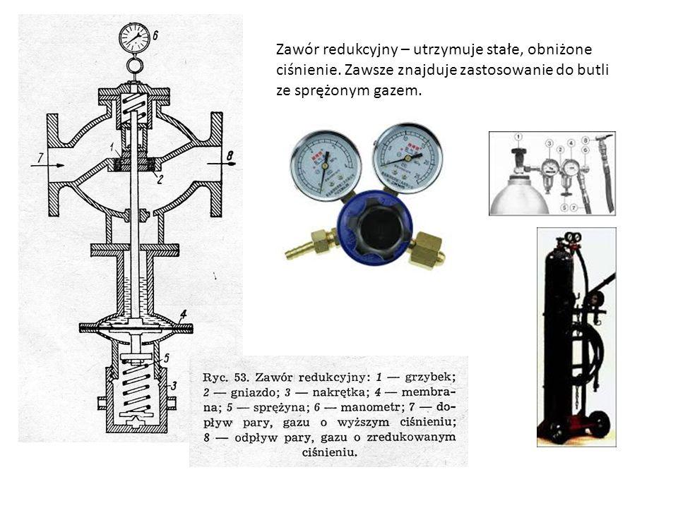 Zawór redukcyjny – utrzymuje stałe, obniżone ciśnienie. Zawsze znajduje zastosowanie do butli ze sprężonym gazem.