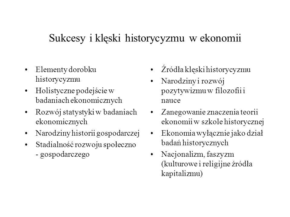 Sukcesy i klęski historycyzmu w ekonomii Elementy dorobku historycyzmu Holistyczne podejście w badaniach ekonomicznych Rozwój statystyki w badaniach e