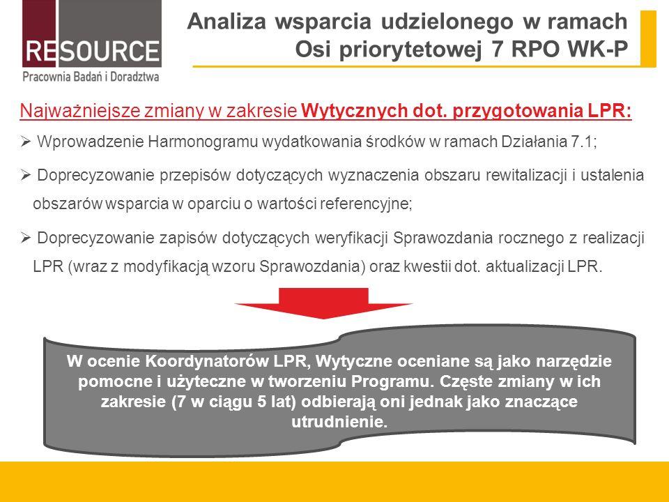 Analiza wsparcia udzielonego w ramach Osi priorytetowej 7 RPO WK-P Najważniejsze zmiany w zakresie Wytycznych dot.