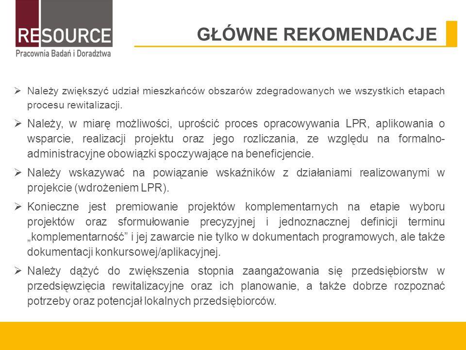  Należy zwiększyć udział mieszkańców obszarów zdegradowanych we wszystkich etapach procesu rewitalizacji.