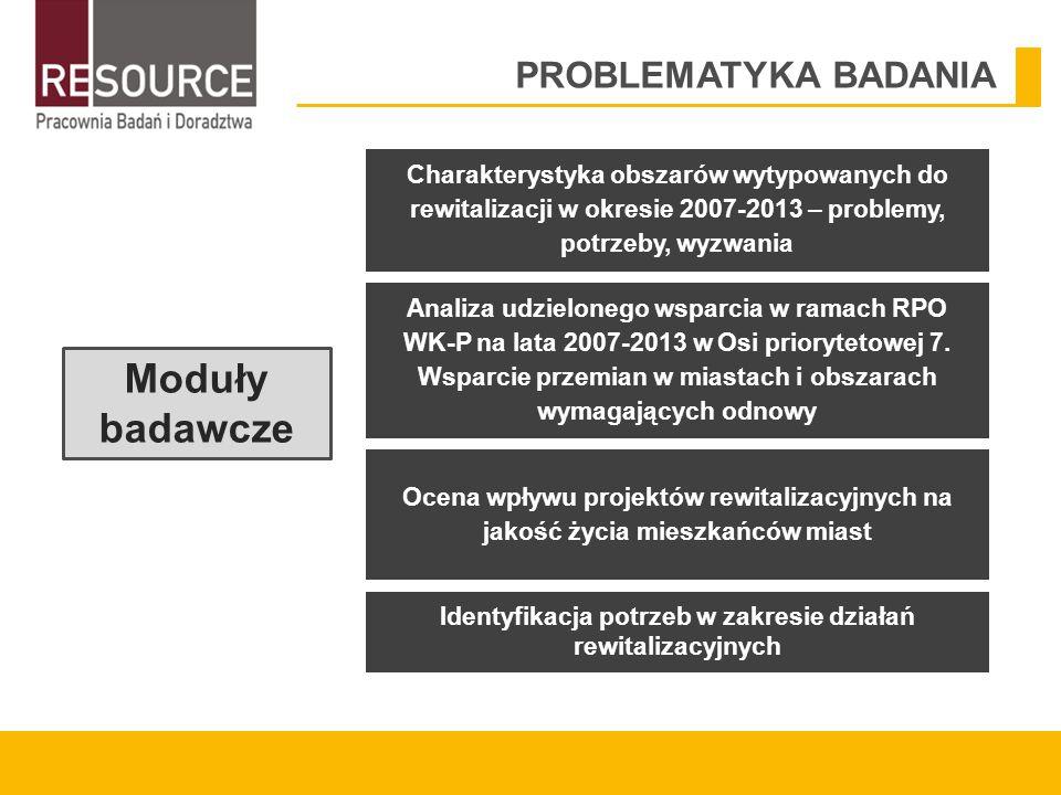 PROBLEMATYKA BADANIA Moduły badawcze Charakterystyka obszarów wytypowanych do rewitalizacji w okresie 2007-2013 – problemy, potrzeby, wyzwania Identyfikacja potrzeb w zakresie działań rewitalizacyjnych Analiza udzielonego wsparcia w ramach RPO WK-P na lata 2007-2013 w Osi priorytetowej 7.