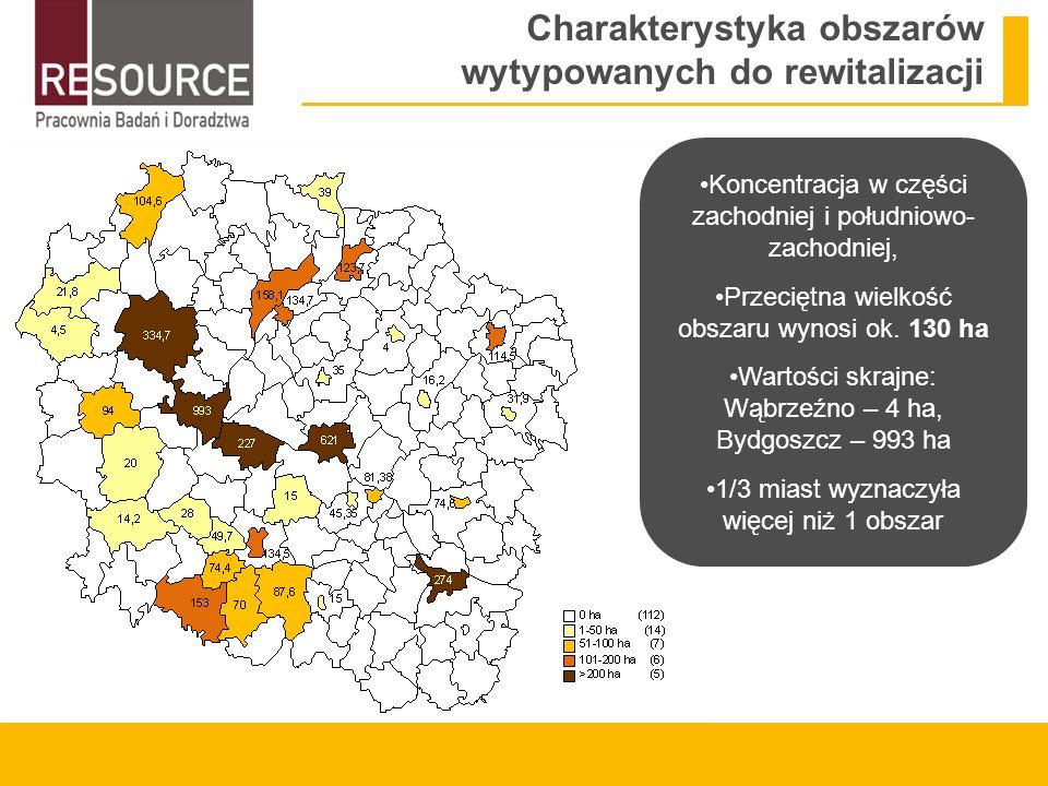 Charakterystyka obszarów wytypowanych do rewitalizacji Koncentracja w części zachodniej i południowo- zachodniej, Przeciętna wielkość obszaru wynosi ok.