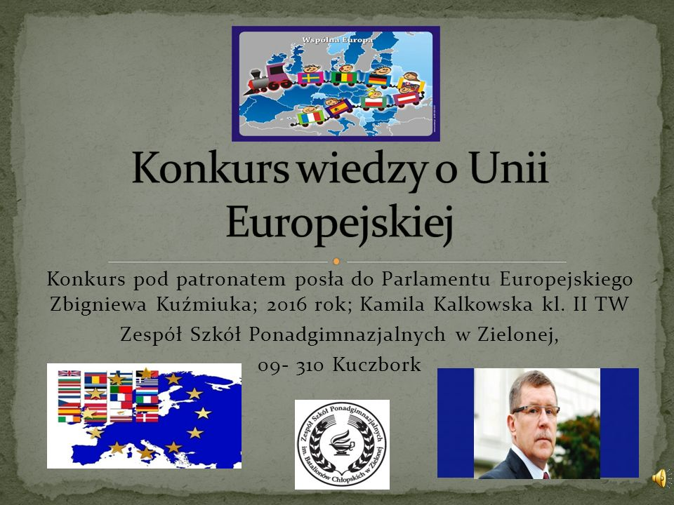 Konkurs pod patronatem posła do Parlamentu Europejskiego Zbigniewa Kuźmiuka; 2016 rok; Kamila Kalkowska kl.
