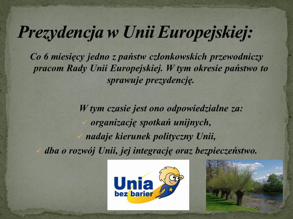 Co 6 miesięcy jedno z państw członkowskich przewodniczy pracom Rady Unii Europejskiej.
