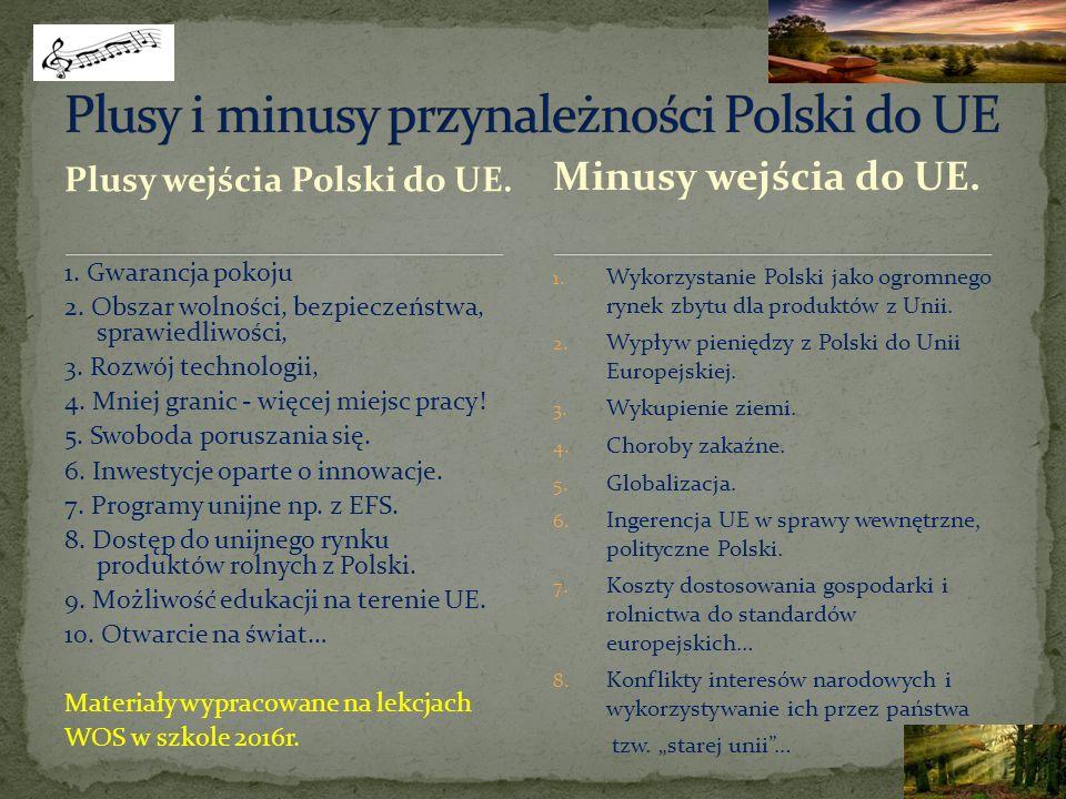 Plusy wejścia Polski do UE. 1. Gwarancja pokoju 2.