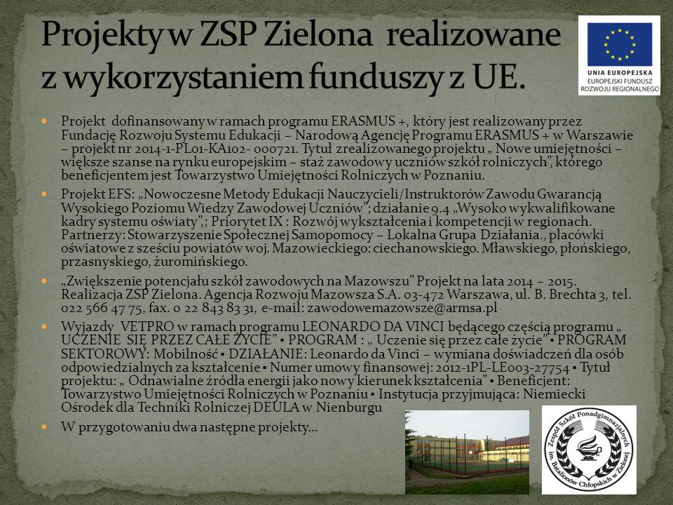 Projekt dofinansowany w ramach programu ERASMUS +, który jest realizowany przez Fundację Rozwoju Systemu Edukacji – Narodową Agencję Programu ERASMUS + w Warszawie – projekt nr 2014-1-PL01-KA102- 000721.