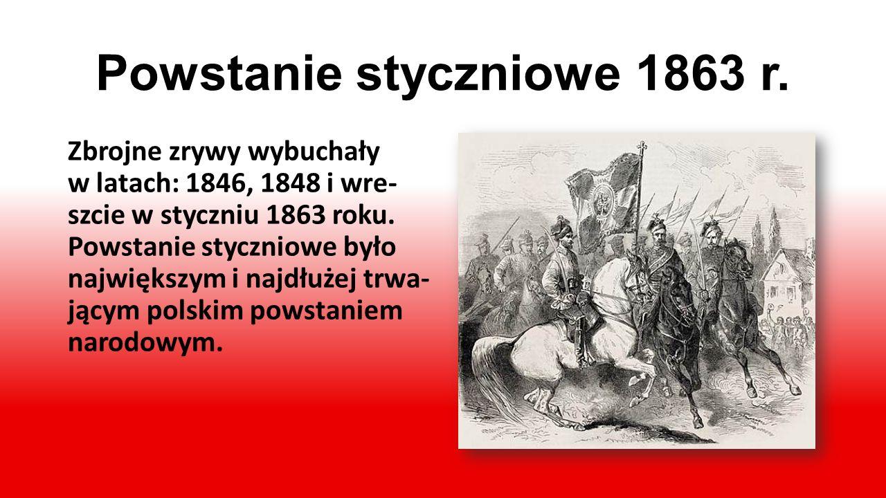 Powstanie listopadowe 1830 r. W listopadzie 1830 roku wybu- chło powstanie przeciwko carowi rosyjskiemu. Walka umocniła pra- gnienie niepodległości i