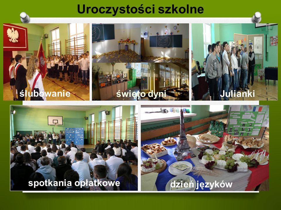 Uroczystości szkolne ślubowanie Juliankiświęto dyni spotkania opłatkowe dzień języków