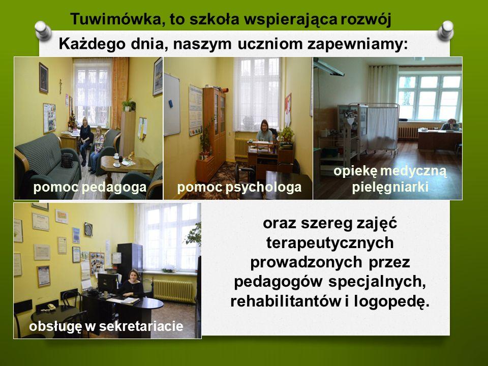 oraz szereg zajęć terapeutycznych prowadzonych przez pedagogów specjalnych, rehabilitantów i logopedę.