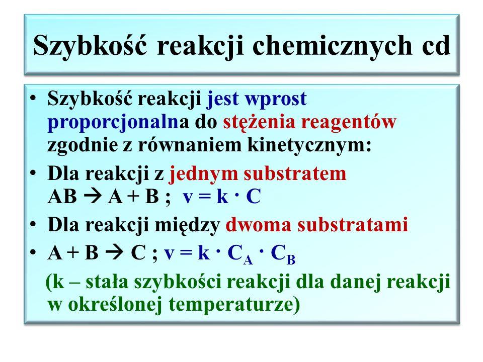 """Szybkość reakcji chemicznych Szybkość reakcji – zmniejszenie się stężenia molowego substratów lub przyrost stężenia molowego produktów reakcji w jednostce czasu (szybkość reakcji wyznacza się doświadczalnie przez pomiar zmian stężeń reagentów w czasie procesu) C v = ± C B """"- stężenie substratów C A """"+ stężenie produktów t Zmiana stężeń substratu (C A ) i produktu (C B ) z upływem czasu dla reakcji A↔B Szybkość reakcji – zmniejszenie się stężenia molowego substratów lub przyrost stężenia molowego produktów reakcji w jednostce czasu (szybkość reakcji wyznacza się doświadczalnie przez pomiar zmian stężeń reagentów w czasie procesu) C v = ± C B """"- stężenie substratów C A """"+ stężenie produktów t Zmiana stężeń substratu (C A ) i produktu (C B ) z upływem czasu dla reakcji A↔B"""