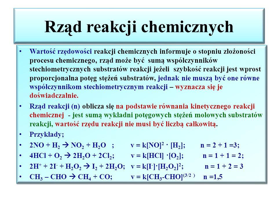 Wpływ czynników na szybkość reakcji Rodzaj reakcji i reagujących ze sobą substancji Stan rozdrobnienia substratów – wraz ze wzrostem rozdrobienia szybkość reakcji wzrasta, ponieważ powierzchnia kontaktu substratów się zwiększa.