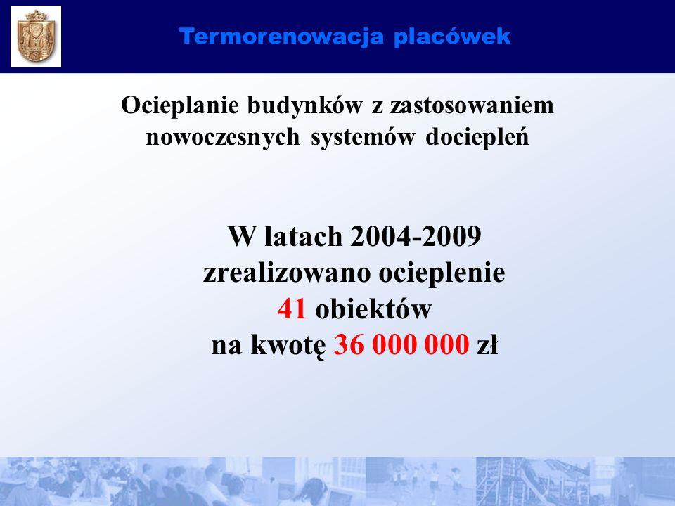Termorenowacja placówek Ocieplanie budynków z zastosowaniem nowoczesnych systemów dociepleń W latach 2004-2009 zrealizowano ocieplenie 41 obiektów na kwotę 36 000 000 zł
