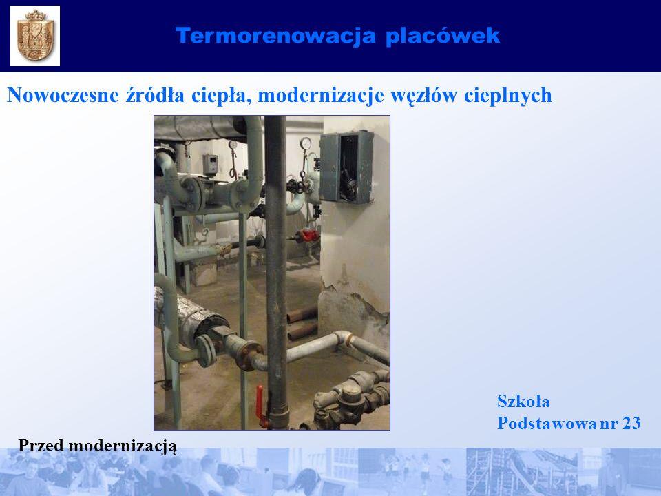 Termorenowacja placówek Nowoczesne źródła ciepła, modernizacje węzłów cieplnych Szkoła Podstawowa nr 23 Przed modernizacją