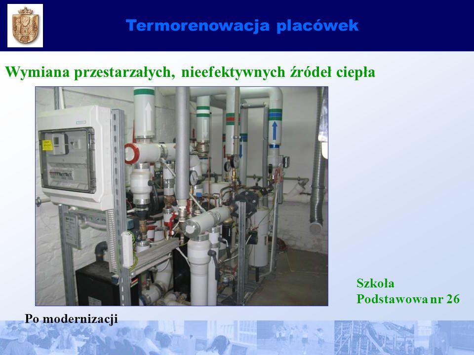 Termorenowacja placówek Wymiana przestarzałych, nieefektywnych źródeł ciepła Szkoła Podstawowa nr 26 Po modernizacji