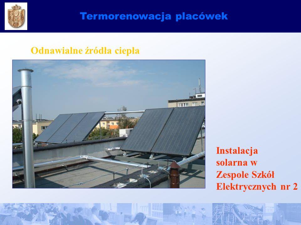 Termorenowacja placówek Odnawialne źródła ciepła Instalacja solarna w Zespole Szkół Elektrycznych nr 2