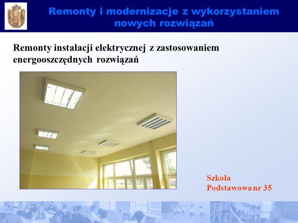 Remonty i modernizacje z wykorzystaniem nowych rozwiązań Remonty instalacji elektrycznej z zastosowaniem energooszczędnych rozwiązań Szkoła Podstawowa nr 35