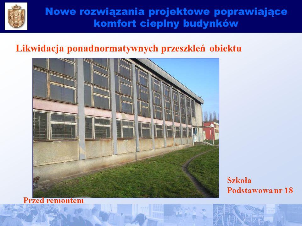 Nowe rozwiązania projektowe poprawiające komfort cieplny budynków Likwidacja ponadnormatywnych przeszkleń obiektu Szkoła Podstawowa nr 18 Przed remontem