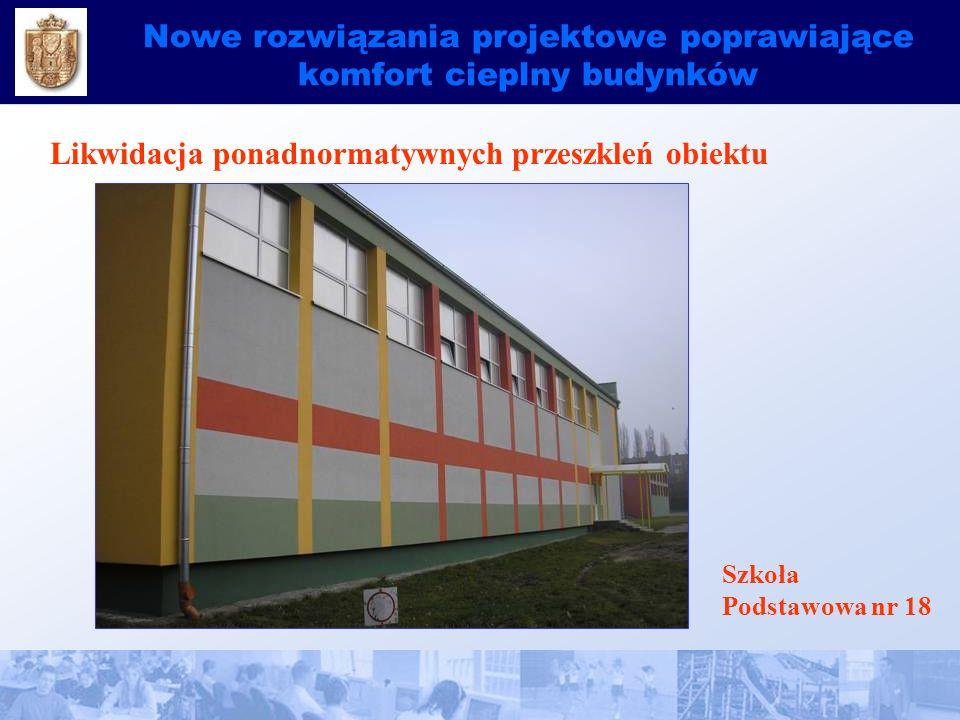 Nowe rozwiązania projektowe poprawiające komfort cieplny budynków Likwidacja ponadnormatywnych przeszkleń obiektu Szkoła Podstawowa nr 18