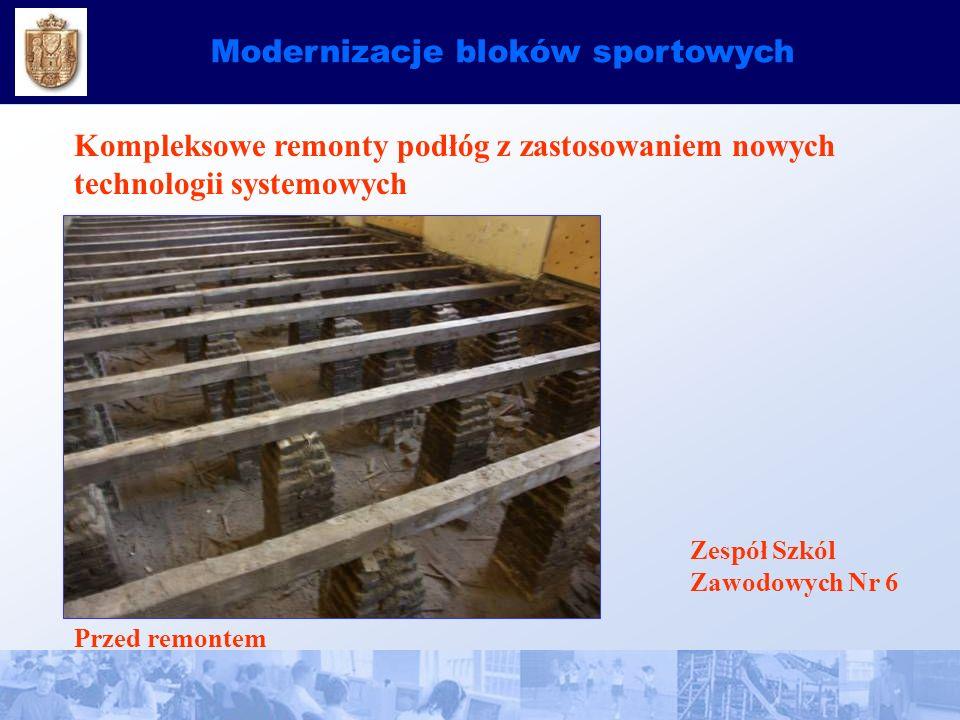 Modernizacje bloków sportowych Kompleksowe remonty podłóg z zastosowaniem nowych technologii systemowych Zespół Szkól Zawodowych Nr 6 Przed remontem