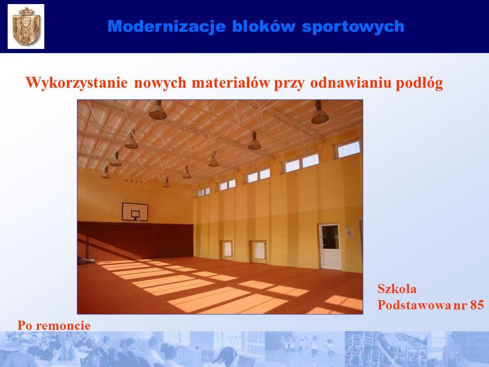 Modernizacje bloków sportowych Wykorzystanie nowych materiałów przy odnawianiu podłóg Szkoła Podstawowa nr 85 Po remoncie