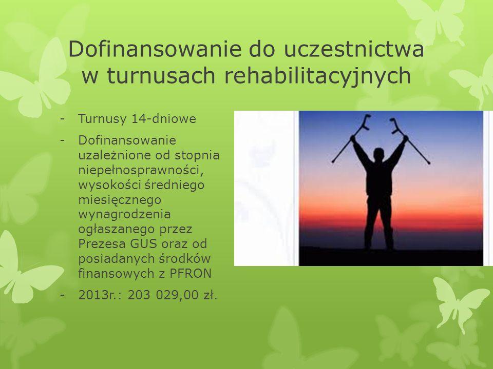 Dofinansowanie do uczestnictwa w turnusach rehabilitacyjnych -Turnusy 14-dniowe -Dofinansowanie uzależnione od stopnia niepełnosprawności, wysokości średniego miesięcznego wynagrodzenia ogłaszanego przez Prezesa GUS oraz od posiadanych środków finansowych z PFRON -2013r.: 203 029,00 zł.