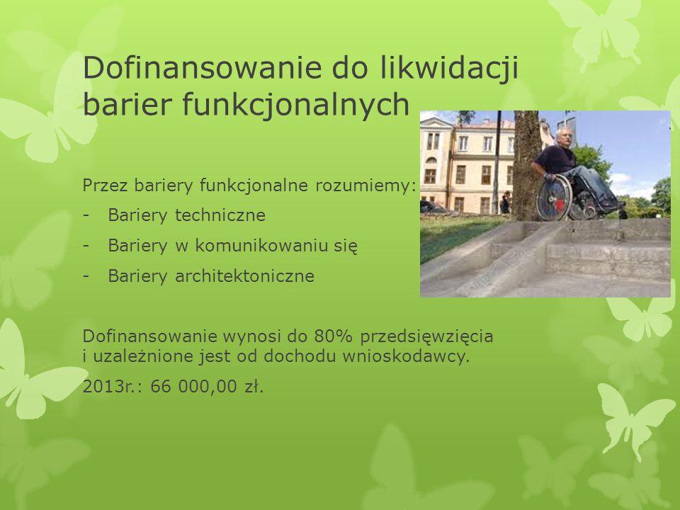 Dofinansowanie do likwidacji barier funkcjonalnych Przez bariery funkcjonalne rozumiemy: -Bariery techniczne -Bariery w komunikowaniu się -Bariery arc