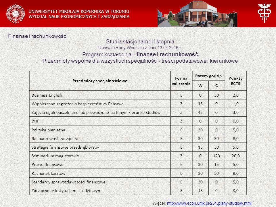 Studia stacjonarne II stopnia Uchwała Rady Wydziału z dnia 13.04.2016 r. Program kształcenia – finanse i rachunkowość Przedmioty wspólne dla wszystkic