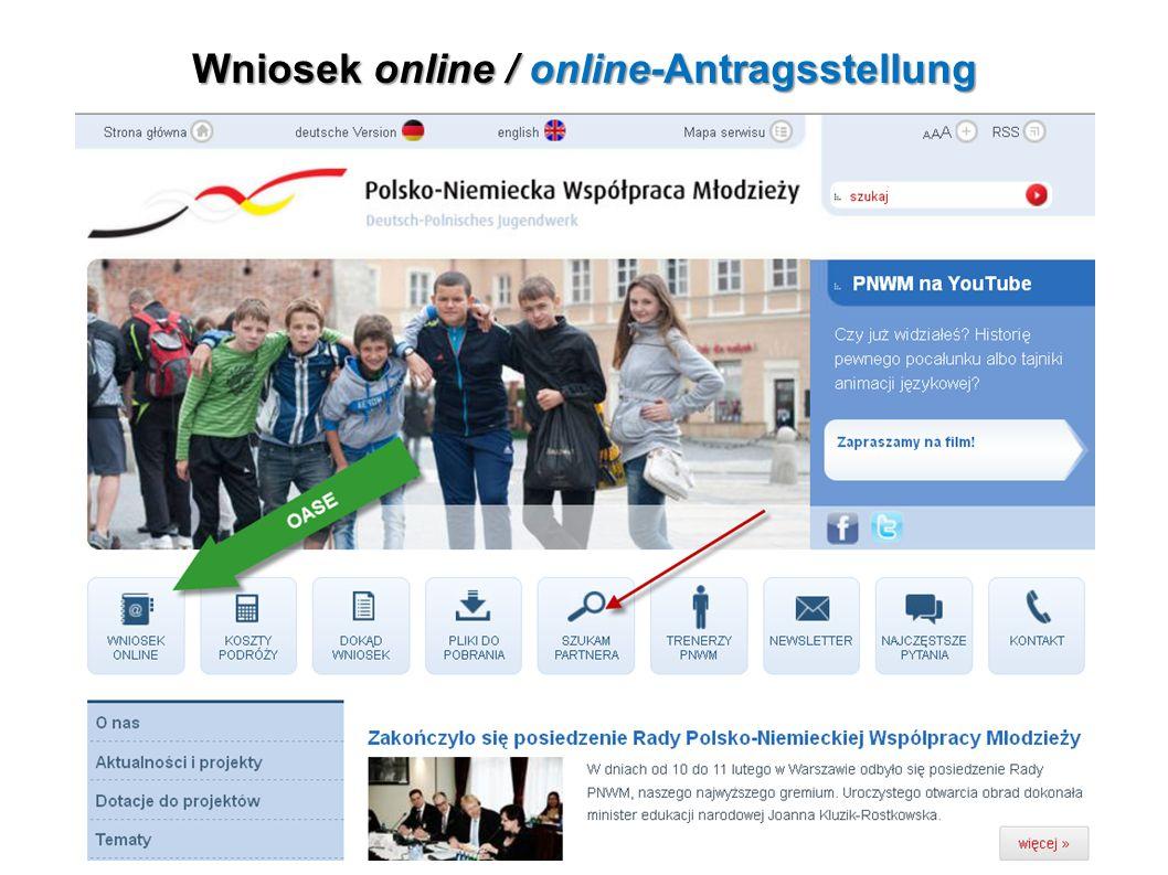 Wniosek online / online-Antragsstellung