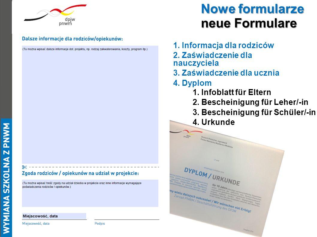 1.Infoblatt für Eltern 2. Bescheinigung für Leher/-in 3.