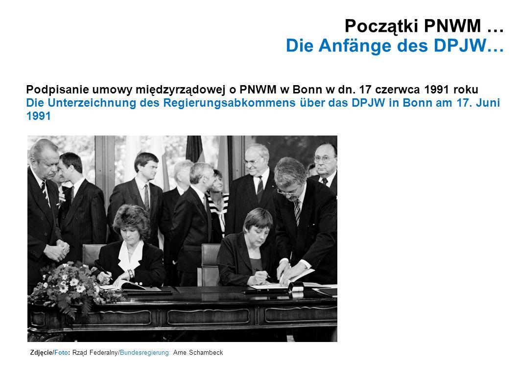 Początki PNWM … Die Anfänge des DPJW… Zdjęcie/Foto: Rząd Federalny/Bundesregierung: Arne Schambeck Podpisanie umowy międzyrządowej o PNWM w Bonn w dn.