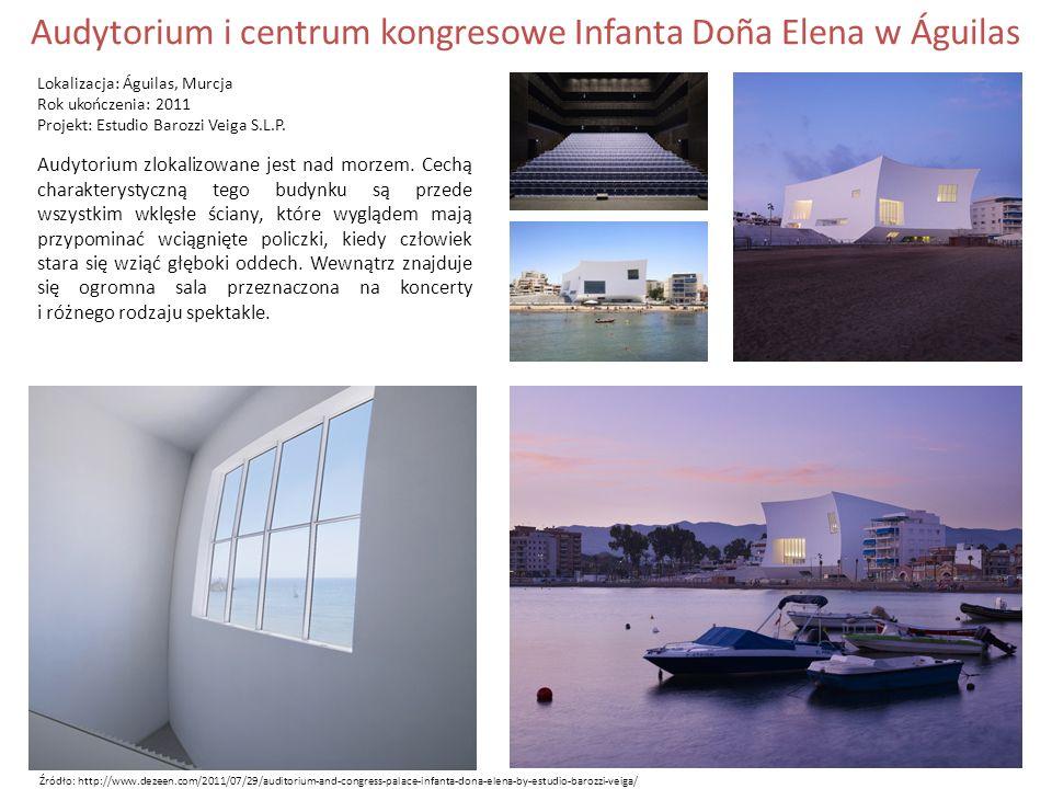 Audytorium i centrum kongresowe Infanta Doña Elena w Águilas Lokalizacja: Águilas, Murcja Rok ukończenia: 2011 Projekt: Estudio Barozzi Veiga S.L.P.