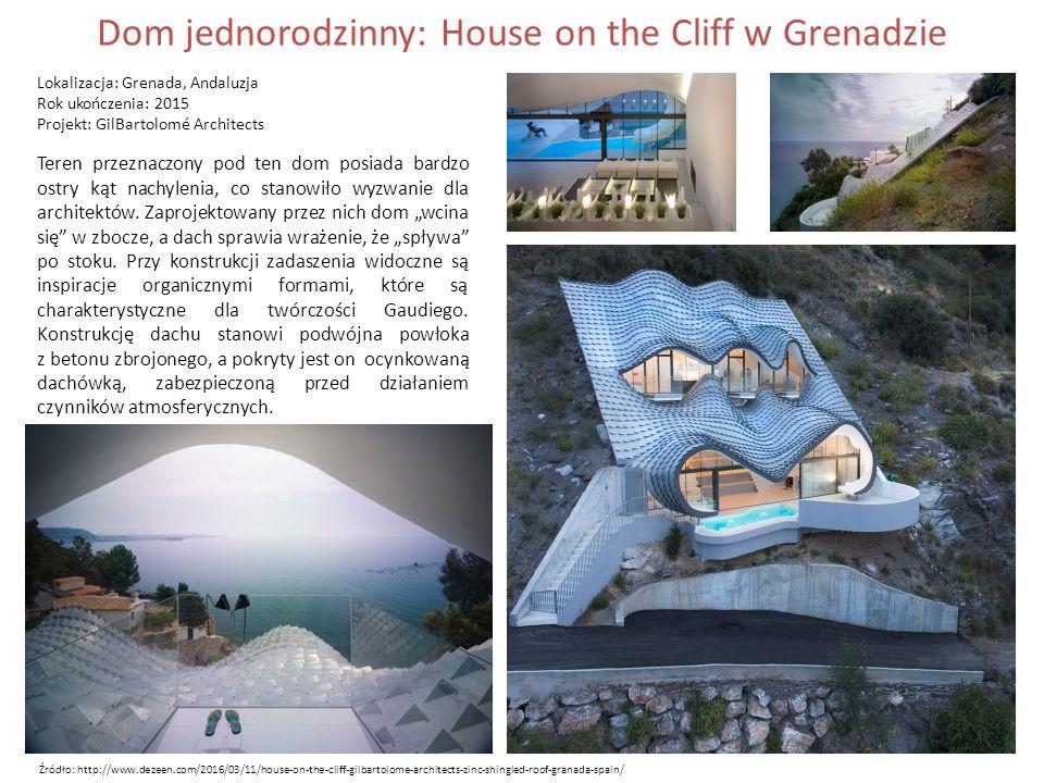 Dom jednorodzinny: House on the Cliff w Grenadzie Lokalizacja: Grenada, Andaluzja Rok ukończenia: 2015 Projekt: GilBartolomé Architects Teren przeznaczony pod ten dom posiada bardzo ostry kąt nachylenia, co stanowiło wyzwanie dla architektów.