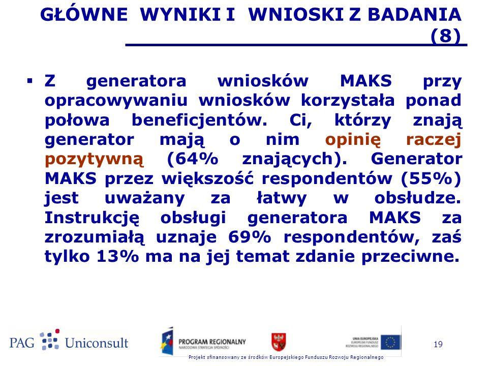 Projekt sfinansowany ze środków Europejskiego Funduszu Rozwoju Regionalnego 19 GŁÓWNE WYNIKI I WNIOSKI Z BADANIA (8)  Z generatora wniosków MAKS przy opracowywaniu wniosków korzystała ponad połowa beneficjentów.