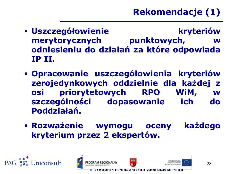 Projekt sfinansowany ze środków Europejskiego Funduszu Rozwoju Regionalnego 28 Rekomendacje (1)  Uszczegółowienie kryteriów merytorycznych punktowych, w odniesieniu do działań za które odpowiada IP II.