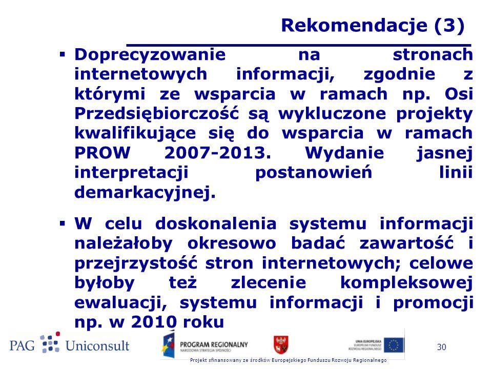 Projekt sfinansowany ze środków Europejskiego Funduszu Rozwoju Regionalnego 30 Rekomendacje (3)  Doprecyzowanie na stronach internetowych informacji, zgodnie z którymi ze wsparcia w ramach np.