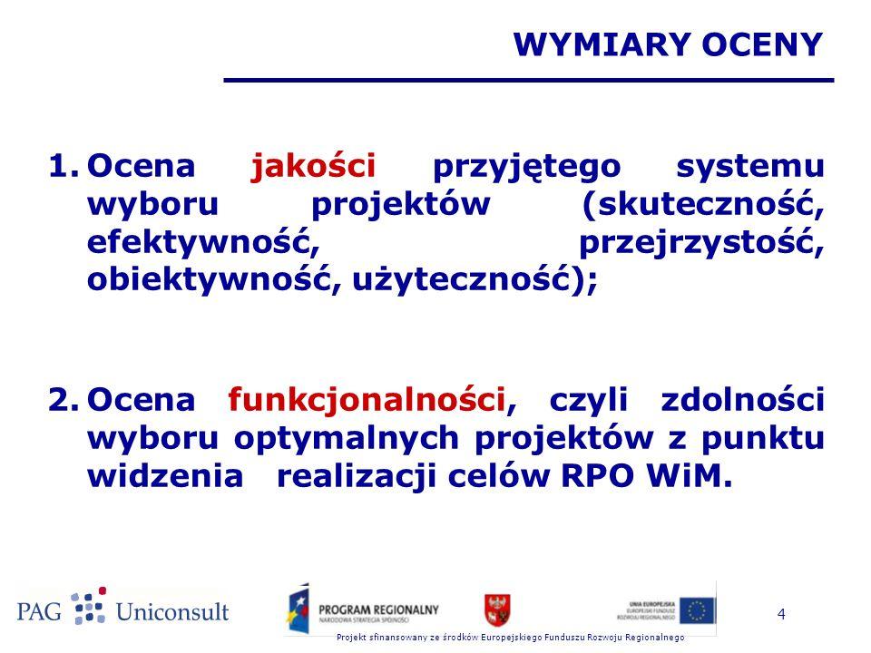 Projekt sfinansowany ze środków Europejskiego Funduszu Rozwoju Regionalnego 4 WYMIARY OCENY 1.Ocena jakości przyjętego systemu wyboru projektów (skuteczność, efektywność, przejrzystość, obiektywność, użyteczność); 2.Ocena funkcjonalności, czyli zdolności wyboru optymalnych projektów z punktu widzenia realizacji celów RPO WiM.