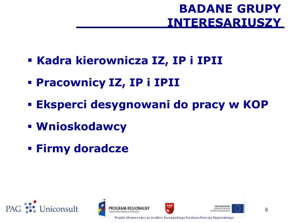 Projekt sfinansowany ze środków Europejskiego Funduszu Rozwoju Regionalnego BADANE GRUPY INTERESARIUSZY  Kadra kierownicza IZ, IP i IPII  Pracownicy IZ, IP i IPII  Eksperci desygnowani do pracy w KOP  Wnioskodawcy  Firmy doradcze 8