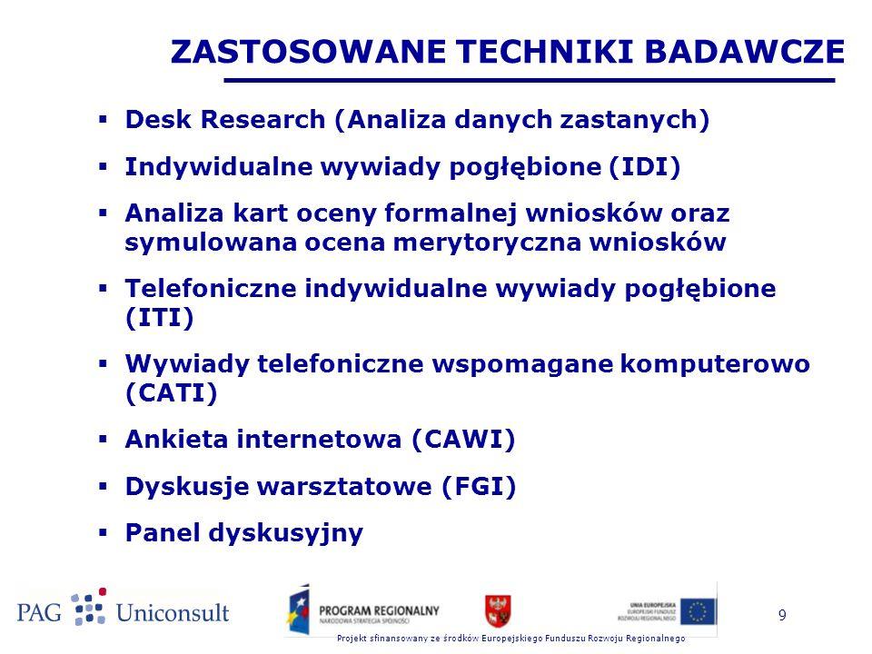 Projekt sfinansowany ze środków Europejskiego Funduszu Rozwoju Regionalnego 20 GŁÓWNE WYNIKI I WNIOSKI Z BADANIA (9)