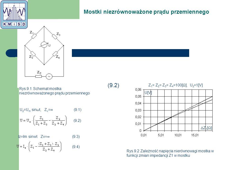 Mostki niezrównoważone prądu przemiennego Rys.9.1 Schemat mostka niezrównoważonego prądu przemiennego Rys.9.2 Zależność napięcia nierównowagi mostka w funkcji zmian impedancji Z1 w mostku Z1[]Z1[] U[V] Z 1 = Z 2 = Z 3 = Z 4 =100[  ], U z =1[V] U z =U m sin  t, Z v =  (9.1) (9.2) Iz=Im sinwt Zv=  (9.3) (9.4)