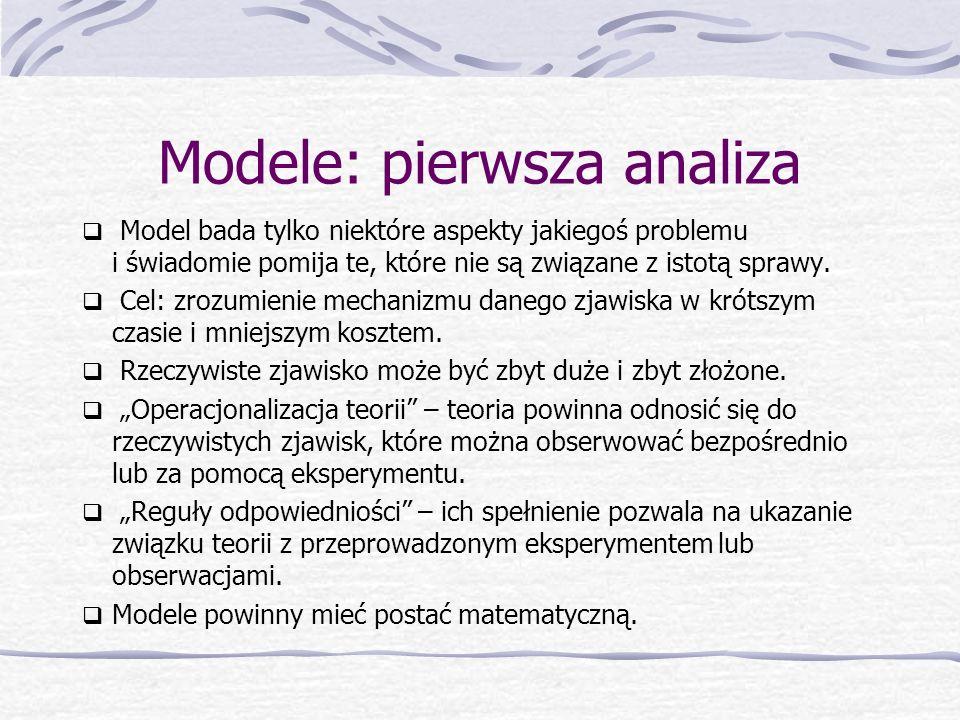 Modele: pierwsza analiza  Model bada tylko niektóre aspekty jakiegoś problemu i świadomie pomija te, które nie są związane z istotą sprawy.