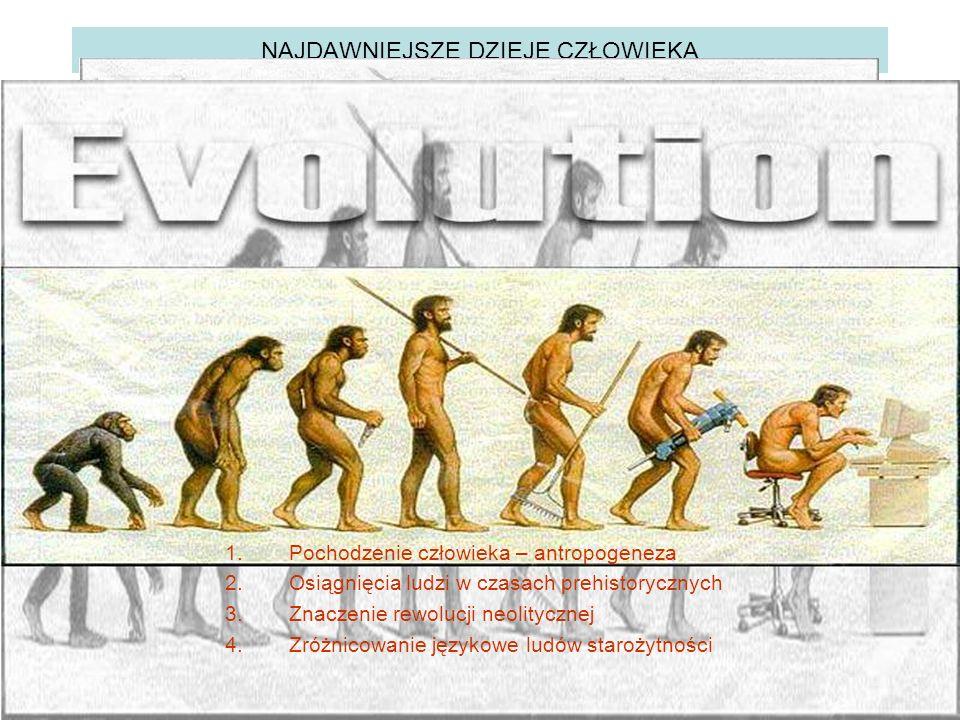 NAJDAWNIEJSZE DZIEJE CZŁOWIEKA 1.Pochodzenie człowieka – antropogeneza 2.Osiągnięcia ludzi w czasach prehistorycznych 3.Znaczenie rewolucji neolitycznej 4.Zróżnicowanie językowe ludów starożytności