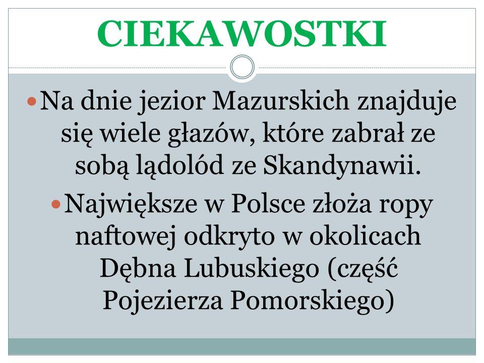 CIEKAWOSTKI Na dnie jezior Mazurskich znajduje się wiele głazów, które zabrał ze sobą lądolód ze Skandynawii. Największe w Polsce złoża ropy naftowej