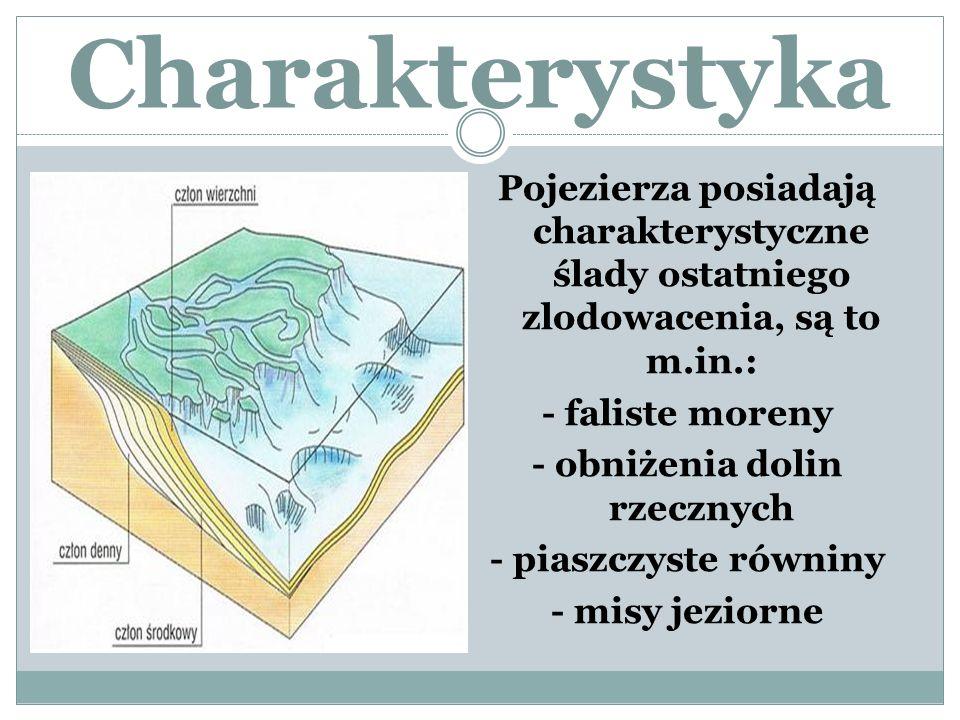 Charakterystyka Pojezierza posiadają charakterystyczne ślady ostatniego zlodowacenia, są to m.in.: - faliste moreny - obniżenia dolin rzecznych - pias