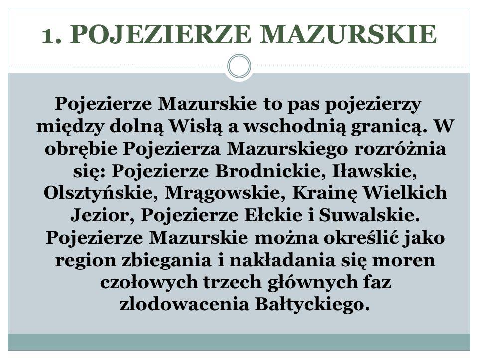 1. POJEZIERZE MAZURSKIE Pojezierze Mazurskie to pas pojezierzy między dolną Wisłą a wschodnią granicą. W obrębie Pojezierza Mazurskiego rozróżnia się: