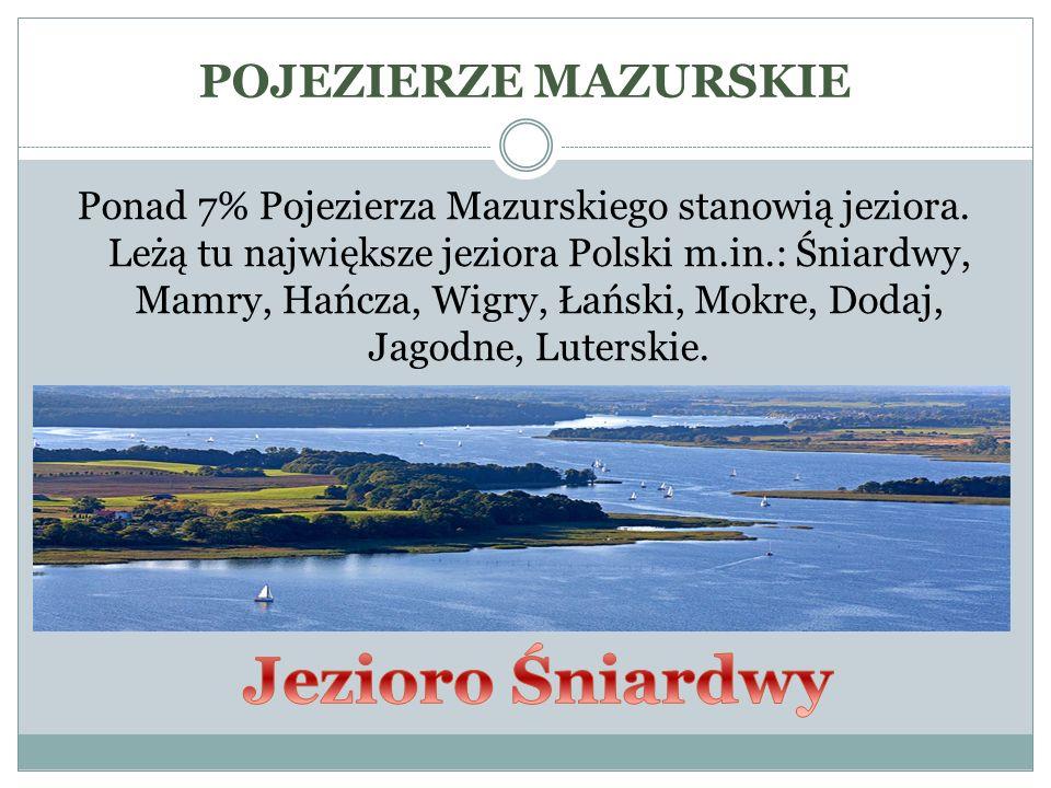 Ponad 7% Pojezierza Mazurskiego stanowią jeziora. Leżą tu największe jeziora Polski m.in.: Śniardwy, Mamry, Hańcza, Wigry, Łański, Mokre, Dodaj, Jagod