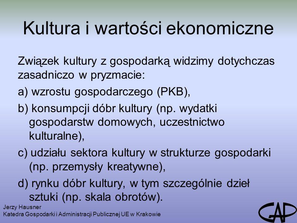 Kultura i wartości ekonomiczne Związek kultury z gospodarką widzimy dotychczas zasadniczo w pryzmacie: a) wzrostu gospodarczego (PKB), b) konsumpcji dóbr kultury (np.